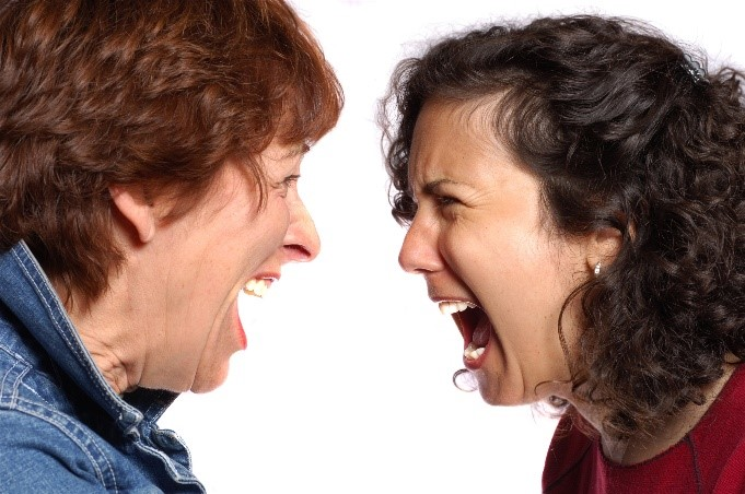 Two women shouting at each other