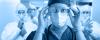Team of scrub nurses tinted blue